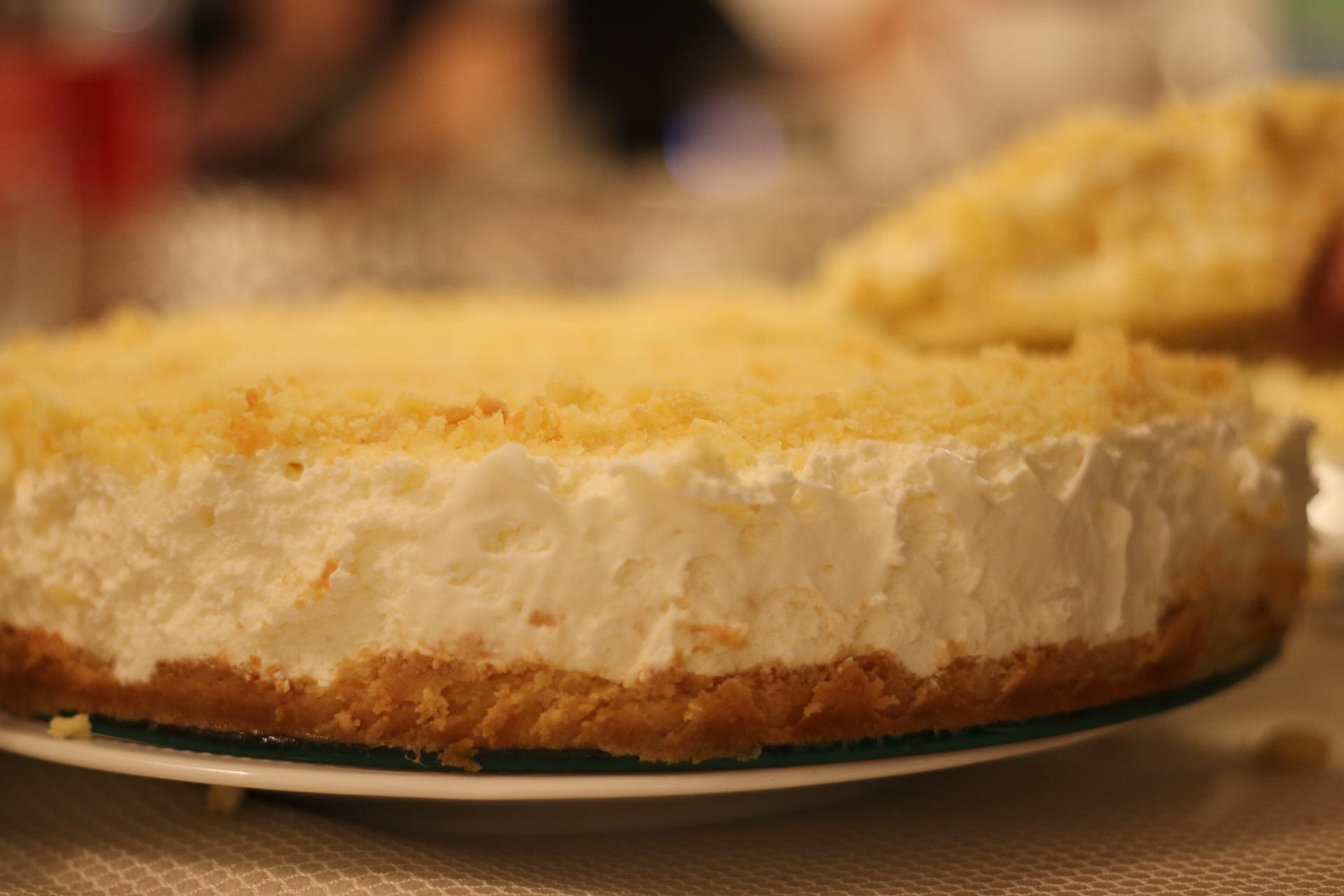 Vanille Käse Kuchen mit Pfirsichen